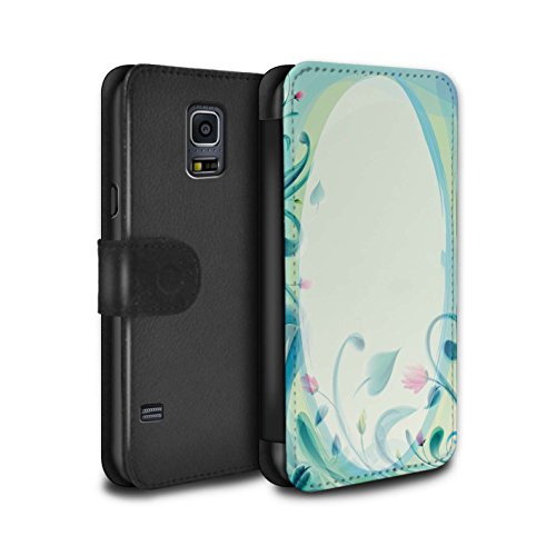 STUFF4 PU-Leder Hülle/Case/Tasche/Cover für Samsung Galaxy S5 Mini / Blume Leinwand/Jahrgang Muster / Teal Mode Kollektion (Mini-leinwand-tasche Kollektion)