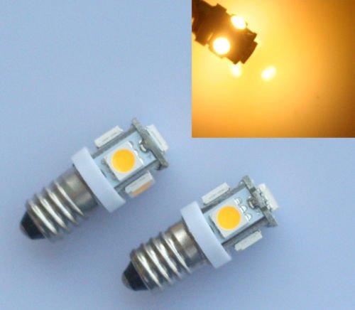 10x LED Birne Warmweiss E10 6V Volt AC DC Fahrrad 5 SMD Schraubsockel Lampel