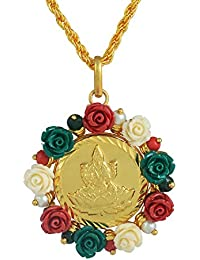 Memoir Gold Plated Acrylic Flower Surrounded Laxmi Coin Chain Pendant Necklace Jewellery For Women