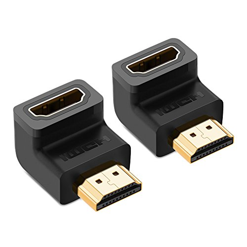 UGREEN HDMI Adapter HDMI Stecker auf Buchse Kupplung High Speed HDMI Connector 90 Grad Winkelstecker mit Vergoldete Kontakte unterstützt 3D, 4K, Full HD, 1080P Schwarz Hdmi Right Angle Adapter