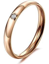1510c27d44d7 fjyouria hombre mujer 18 ct bañado en oro rosa acero de titanio alto pulido  suave círculo