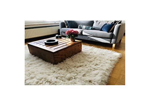 Premium Shaggy Flokati Griechische Teppiche Elfenbein Farbe, von Rugs & Stuff - 90 x 160cm - 2000gsm - Viele Verschiedenen Größen, Wolle, Elfenbeinfarben -