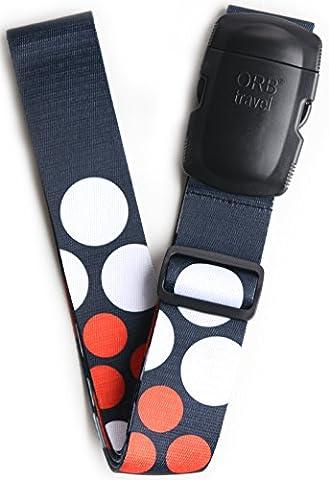 ORB Travel Points Noirs Ls319-Bwr Pois / Blanc / Rouge 2Mx5Cm-Designer Sangle Pour Bagages
