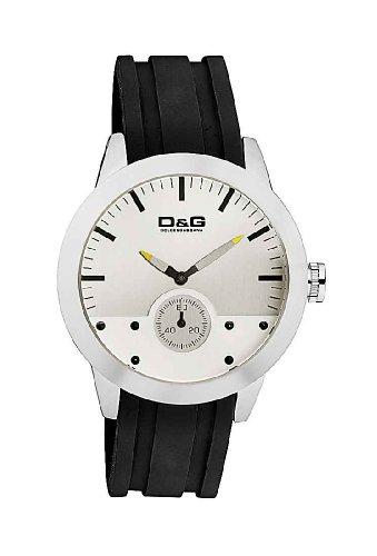 D&G Dolce&Gabbana DW0372 – Reloj cronógrafo de caballero de cuarzo con correa de goma negra (cronómetro)