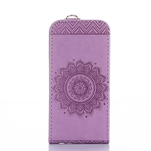 iPhone 5S Custodia Flip,iPhone SE Custodia in Pelle,Slynmax Stampato Copertura di Ccuoio Folio Cover in PU Dipinto Sintetica Ecopelle Guscio Wallet Case per Apple iPhone 5/5S/SE Protezione Caso Ultra  Viola
