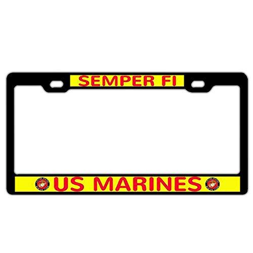 Nummernschildrahmen mit 2 Löchern, Nummernschildrahmen aus Metall und Chrom-Schraube, Aluminium, Semper Fi Us Marines -