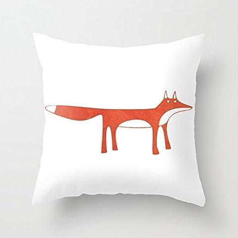 Generic Blanc Mr Fox Taie d'oreiller carré Taie d'oreiller à fermeture Éclair Taie d'oreiller 18x 18Accent oreillers pour canapé