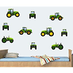 Childrens Tractors   Green   Pack Of 10   Wall Art Vinyl Printed Stickers Part 82