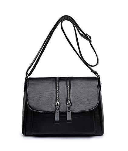 Damen Umhängetasche aus weichem Leder Umhängetasche mit großer Kapazität Mummy Bag Boston Bag (schwarz, 28 * 21 * 12cm) (Bag Boston Schwarz)