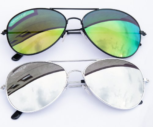 Pilotenbrillen Set Silver + Green Flash