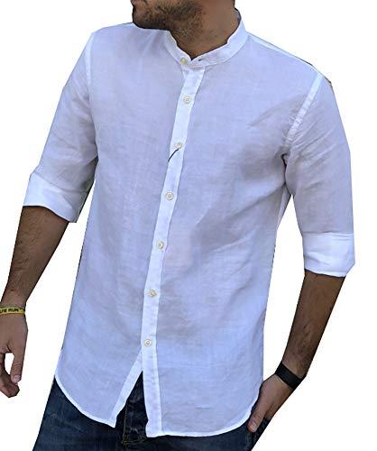 Puro lino camicia uomo coreana manica lunga tg. m, l, xl, xxl e 3xl primavera/estate 2018 (l, bianco)