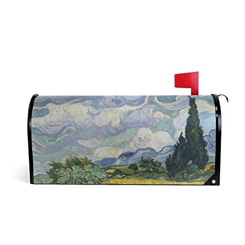 Linomo Magnetbriefkasten-Abdeckung Van Gogh Weizenfeld Zypressen Briefkasten-Umschlag Briefkasten-Abdeckung Haus Garten Hof, Outdoor Deko für Übergröße 63,5 x 53,3 cm -