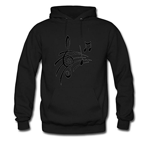 HGLee Printed DIY Custom Music Note Women's Hoodie Hooded Sweatshirt Black--2