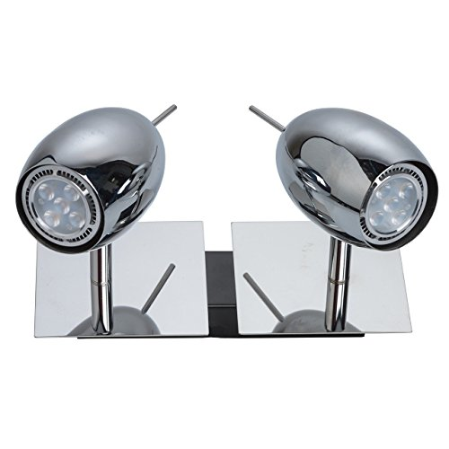 Urban moderner Wandspot Industriedesign 2-flammig drehbar Chrom Metall Farbe energiesparende LED Leuchtmittel inklusive für Treppenhaus Küche Flurbereich inkl.2*5W LED GU10