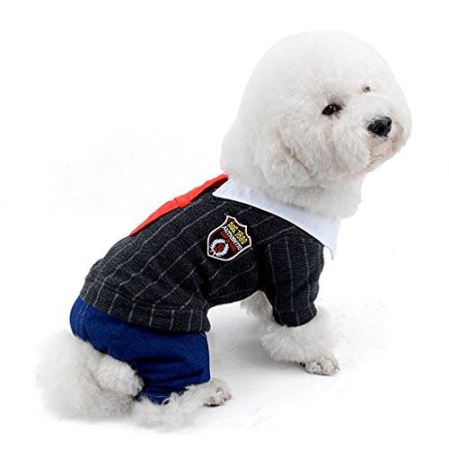 selmai Kleine Hunde Overall Fleece gefüttert Preppy Style Rot Krawatte Puppy Schneeanzug four-legs Hose Pyjama Winter Warm Pet Chihuahua Kleidung Apparel Outfits kaltem Wetter Mänteln -