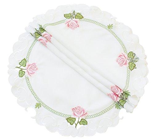 Xia Home Fashions Summer Rose bestickt Durchbrucharbeit Spring Deckchen, weiß, 12-Inch Round (Elfenbein Deckchen)
