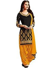 Nivah Fashion Women's Pure Cotton Embroidery Patiyala Salwar Suit (Free Size_Un-Stitch) G25-Black Yellow