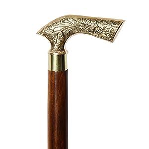 Icrafts India Gehstock aus Holz?94cm Vintage Ebenholz Schwarz Sheesham Holz verziert mit Silber Griff Gehstock für Damen und Herren. Holz Deko und Gehstöcke