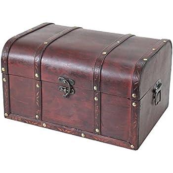 2er Set Truhen Holz Leder 26 und 20 cm Breite Box Schatulle