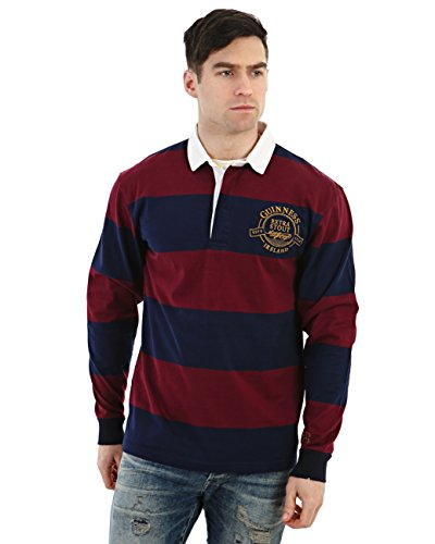 Guinness Official Merchandise GUINNESS Wine and Navy Striped Rugby Jersey
