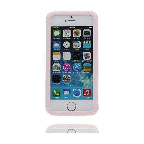 iPhone 5 Custodia, [ coniglio Orecchio 3D Cartoon ] , morbida guarnizione TPU in gomma antigraffio protettiva Case copertura per iPhone SE 5C 5G 5S Cover & penna di tocco rosa