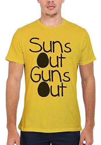 Suns Out Guns Out Summer Gym Muscle Men Women Damen Herren Unisex Top T Shirt Licht Gelb