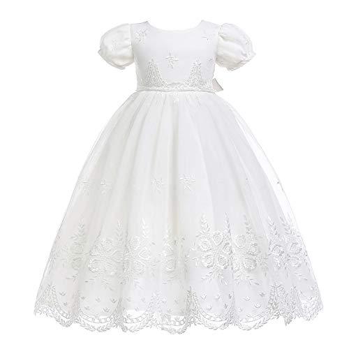 Monimo Baby Mädchen Taufbekleidung Kleid 2PCS Prinzessin Bow Festkleidkleid Länge bis zum Boden