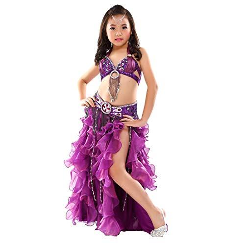 Zigeuner Kostüm Mädchen - Calcifer Kinder Bauchtanz-Kostüm, 3-teiliges Set, BH, Gürtel und Rock, dunkelviolett