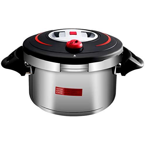 COSTWAY Schnellkochtopf Pressure Cooker Dampfkochtopf Kochtopf Edelstahl 6 L mit Sicherheitsventil Auspuff Dampfgitter 39 x 27,5 x 20cm