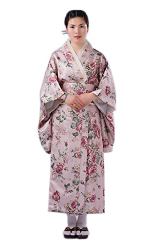 Yue Lian Damen Baumwolle Blumen Yukata Cosplay Kostüm mit Obi-Gütel Japanisch Kimono (Kostüm Cosplay Yue)
