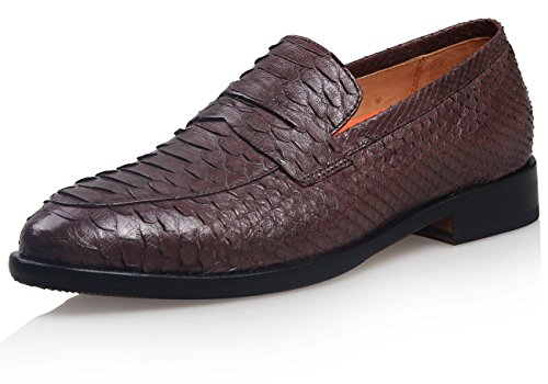 ELANROMAN - Mocassini uomo , marrone (Brown), 48 (Scarpe Snakeskin Mens)