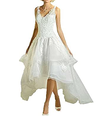 Anjuruisi v neck lace applique wedding dresses high low for Amazon cheap wedding dresses