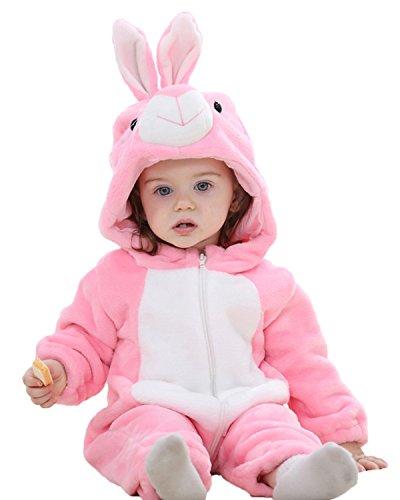 Kidsform Baby Flanell Winter Strampler Outfits Bekleidung Karikatur Tier Jumpsuit Spielanzug Spielzug Playsuit Rabbit 2-3Y (Ein Prozent Kostüm)