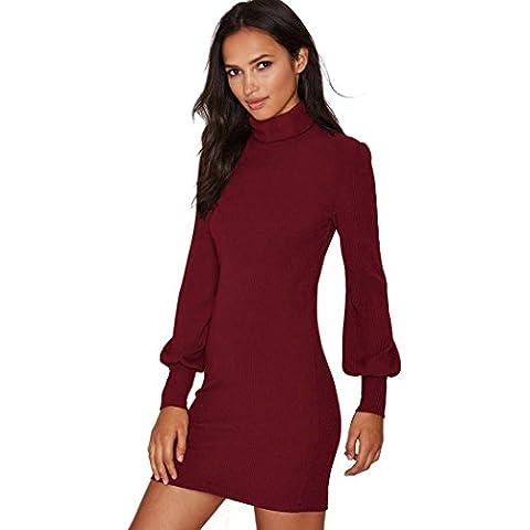 CRAVOG Suéter de Vestido Mujer Otoño Invierno Slim Vestido Para Hacer Punto Alta Cuello Mini Vestido de Jerseys