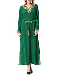 Zhhlaixing Ventas calientes Muslims Bright Colors Arab Middle East Dubai Saudi Arabia Ladies Special Pattern Long Sleeve Dress
