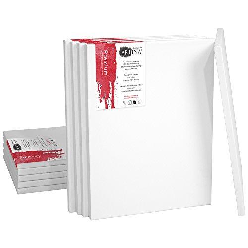 Artina 10er Set - 18x24 cm Leinwand aus 100% Baumwolle auf stabilem Keilrahmen in Premium Qualität - 380 g/m² -