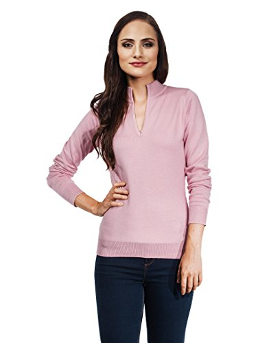 VB - Maglione da donna con scollo a V e Colletto Dusty Pink Large