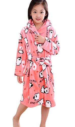 XINNE Enfants Peignoir de Bain à Capuche Flanelle Robe de Chambre Fille Garçon Automne Hiver Pyjama Vêtement de Nuit Taille M Mouton