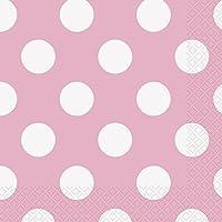 Unique Party 37972 Tovaglioli di Carta a Pois Rosa Confetto, Confezione da 16