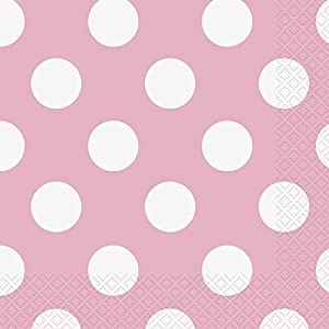 Unique Party- Paquete de 16 servilletas de papel a lunares, Color rosa claro, 37972)