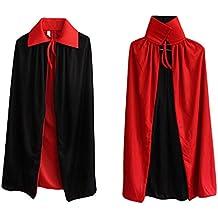 Ecloud Shop® Schwarzes Rot Reversible Kleid Goth Devil Piraten Vampir Dämonen Umhang Für Halloween Party Ostern Weihnachten Kinder Kinder