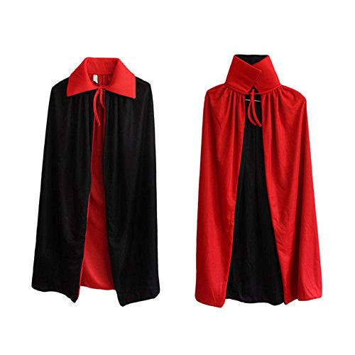 Ecloud Shop® Schwarzes Rot Reversible Kleid Goth Devil Piraten Vampir Dämonen Umhang Für Halloween Party Ostern Weihnachten Kinder Kinder (Hübsche Einfach Halloween-make-up)