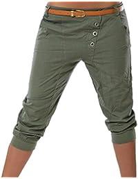 eb142a569c7e Hibote Harem Shorts for Women - 3 4 Shorts Cropped Capri Trousers Stretchy  Pockets Button Pants Cotton Blend Pure Color Trousers S…