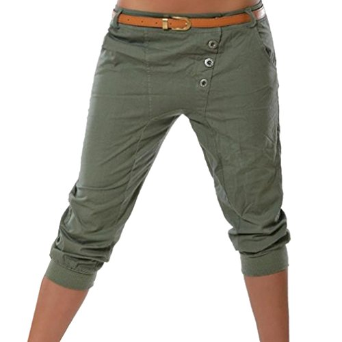 Juqilu Damen Capri 3/4 Hose Kurze Sommer Chino Stoffhose Bermuda Einfarbig Beiläufige Pants Kurze Hosen Streetwear S-5XL