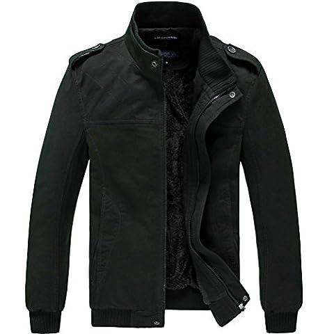 Laixing Men's Plus Velvet Outerwear Manteaux Long Sleeve Cotton Winter Wram jacket Coat