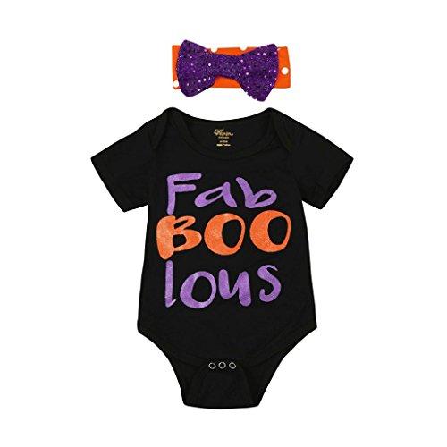 Baby Mädchen Paillette Brief Drucken Spielanzug + Stirnband Halloween Kleider Hirolan Neugeboren Säugling Kleider Hälfte Bis 2 Jahre alt (90cm, (11 Halloween Alt Jahre Kostüme Cool)