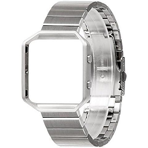 Wearlizer Cinturino a maglie con telaio in metallo per Fitbit Blaze, cinturino di ricambio in metallo per Fitbiz Blaze - Argento