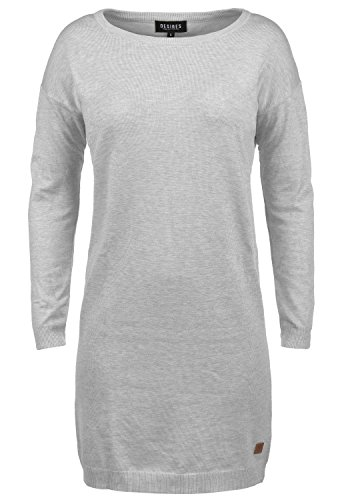 DESIRES Ella Damen Strickkleid Feinstrick Kleid Longsleeve mit Rundhals aus hochwertigem Material, Größe:M, Farbe:Light Grey Melange (8242) (Feinstrick-kleid)