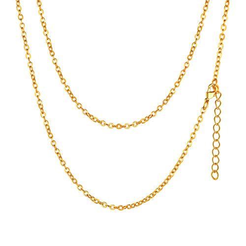 FaithHeart Schmuck 925 Silber Panzerkette Rolo Kette Vergoldet 2mm - Frauen Damen Halskette Gold in 45 cm