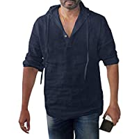 Men Solid Hooded Shirts Tops, Male Long Sleeve Baggy Cotton Linen Button Plus Size T-shirt Blouse Tunic Tops